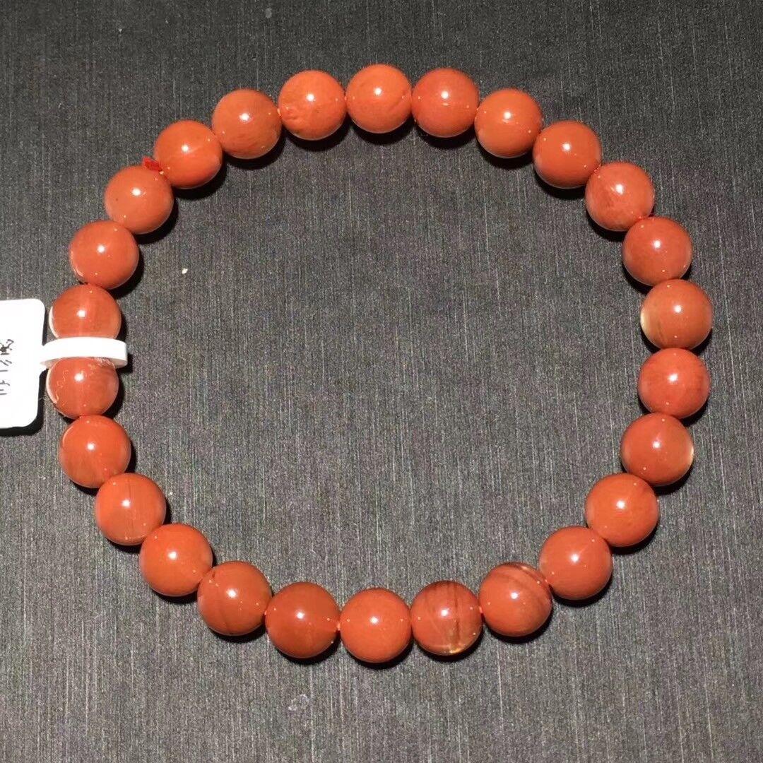 7.5mm Genuine Natural Red Sunstone Moonstone Crystal Beads Bracelet AAAA