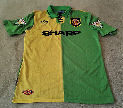 Manchester United 1992-94 Eric Cantona Yellow/Green Newton Heath Away Jersey XL   eBay