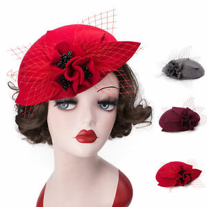 Image is loading Unique-Vintage-Womens-Felted-Wool-Fascinator-Pillbox-Round- f22e34007c7