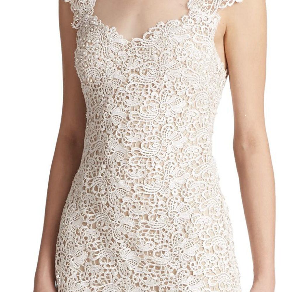 NWT Mignon Mignon Mignon VM1509 Cap Sleeve Lace Illusion Evening Gown IVORY  498 Sizes 0 & 2 3df5d3
