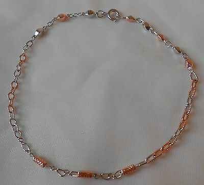 Flight Tracker 14k Two Tone Rose Gold & Silver Filled Anklet Bracelet 10'' Bfa351 Fashion Jewelry