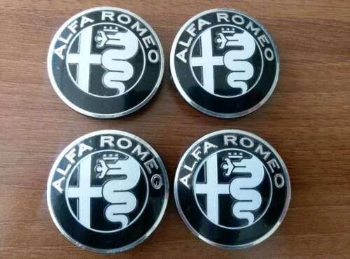 147 SET of 4pcs Alfa Romeo BLACK GIULIA emblems 50mm 156 for hub caps