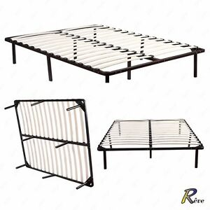 Full Queen Size Metal Platform Slats Wood Bed Frame