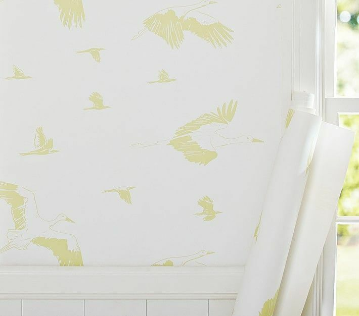 Pottery Barn by Jenni Kayne Stork Wall Paper 10 double rolls BABY'S ROOM