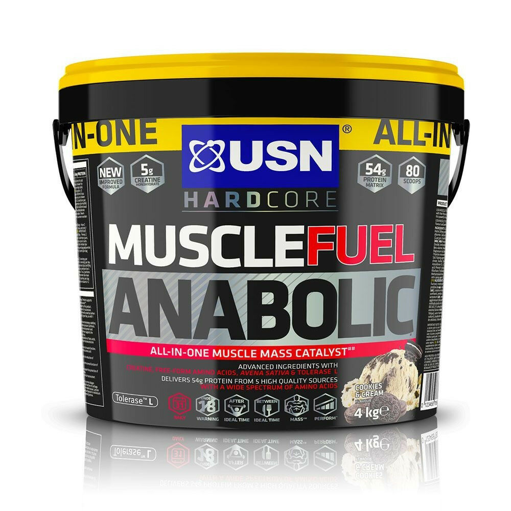 USN Muscle Fuel Anabolic All-In-One Muscle Mass Gainer 4kg 4kg Gainer Protein Shake Cookies fa3e7d
