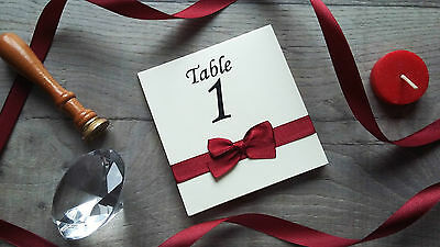 Handmade Wedding Table Numbers Double Sided with Satin Ribbon and Bows