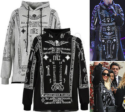New Allover Church Graphic Print Hooded Sweatshirt Hoodie Black A$AP Rocky Kanye