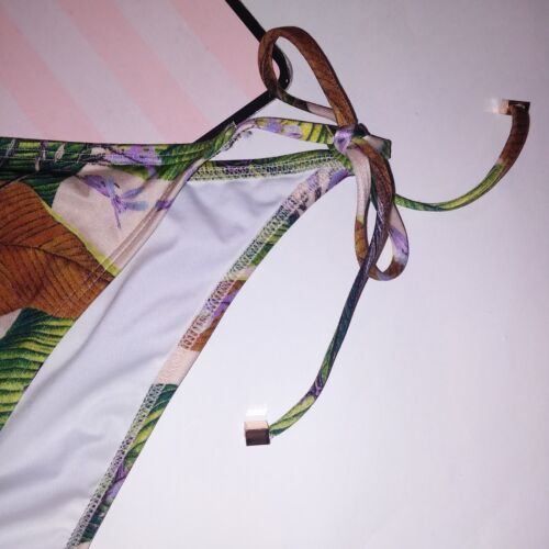 Victoria Secret Swim Bikini Bottom Skimpy String Leaves Shimmer