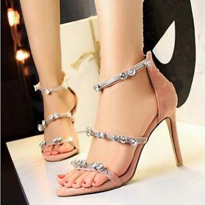Aguja 9 5 Piel Mujer Sandalias Cw598 Rosa Cm Como Evento Elegantes De Tacón Joya qp0CwxB