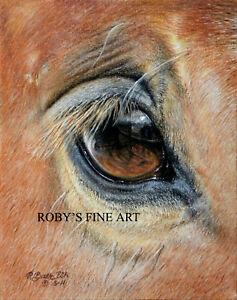 Mustang-Horse-Eye-Art-5-034-x7-034-Print-034-Self-Portrait-034-Giclee-by-Artist-Roby-Baer-PSA