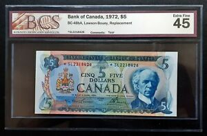 1972-BANK-OF-CANADA-5-Rare-Replacement-SL2218426-BCS-EF45-Certified-BC-48bA