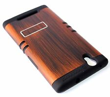 For ZTE ZMAX Z970 - HARD & SOFT RUBBER HYBRID ARMOR IMPACT CASE COVER BROWN WOOD