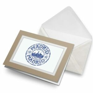 Greetings-Card-Biege-Madrid-Spain-Espana-Travel-Stamp-5919