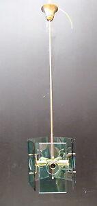 LAMPADARIO TIPO FONTANA ARTE IN OTTONE E VETRO - ANNI 60 | eBay