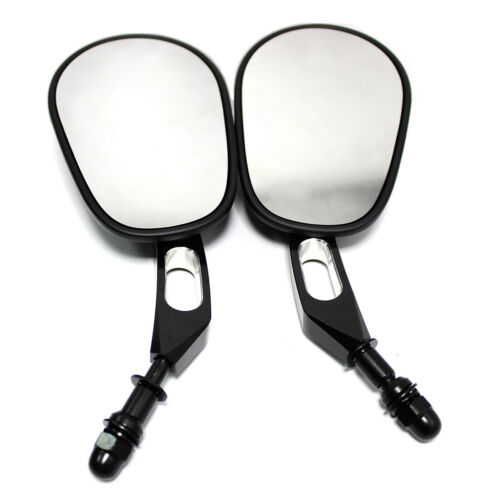 MT Black Edge Cut Rear View Side Mirrors For Harley Sportster Softail Tour Dyna