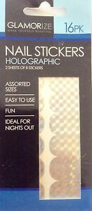 Holographic-Assorted-Size-Nail-Stickers-x-16-Easy-To-Use-Fun-For-A-Night-Out