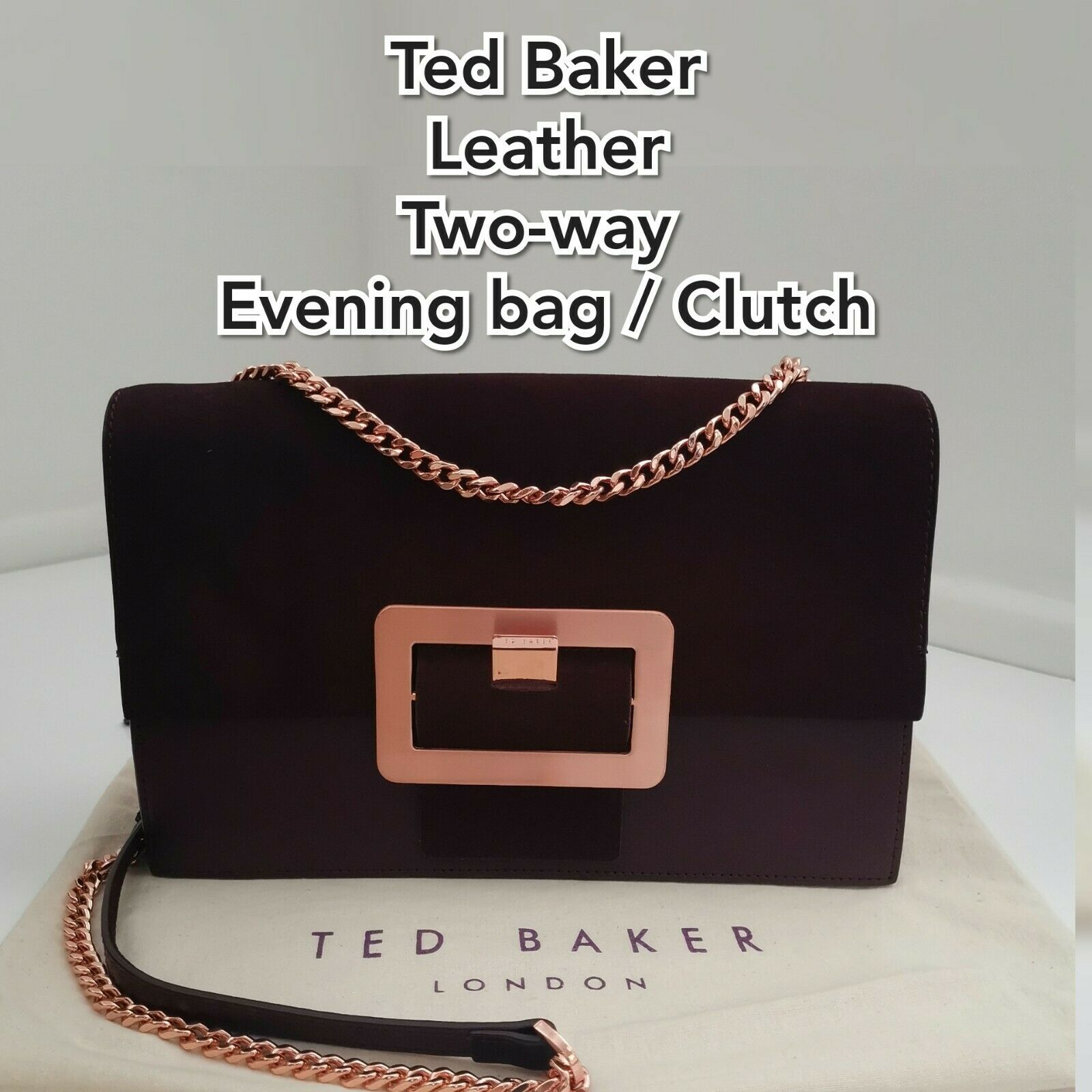 Ted Baker Chain Bag / Clutch Leather Rose Gold Buckle VGC+
