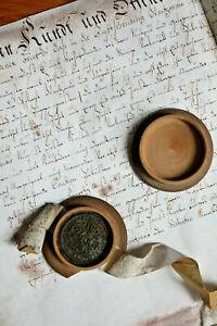 1710-Gothic-German-manuscript-parchment-decorated-title-Wax-official-box-AMAZING