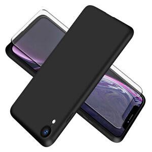 SDTEK-Slim-Matte-Case-for-iPhone-XR-Tempered-Glass-Screen-Protector-Black