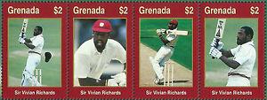 GRENADA-WISDEN-2000-CRICKET-SIR-VIV-RICHARDS-STRIP-of-4-Values-MNH
