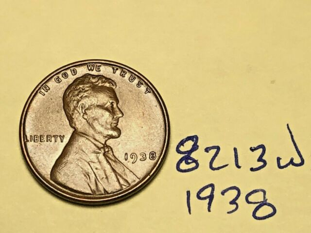 1938 1C BN Lincoln Cent 8213W Wheat Penny