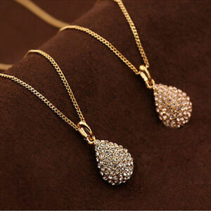 Crystal-Women-Plated-Chain-Fashion-Gold-Pendant-Long-Silver-Necklace-Statement