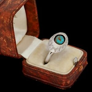 Antique-Vintage-Sterling-Coin-Silver-Native-Navajo-Turquoise-Shadowbox-Ring-7-75
