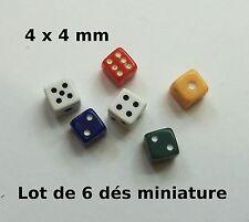 lot de six dés à jouer miniature,vitrine,maison de poupée, dollshouse,jeu,dé CL8