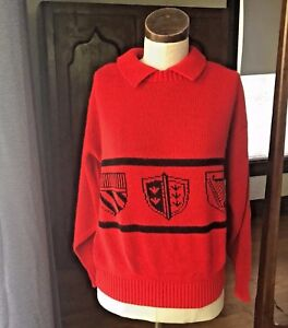 Vintage-Red-IFI-PETITE-Made-in-USA-Medals-Military-Medium-M-80-039-s-Sweater