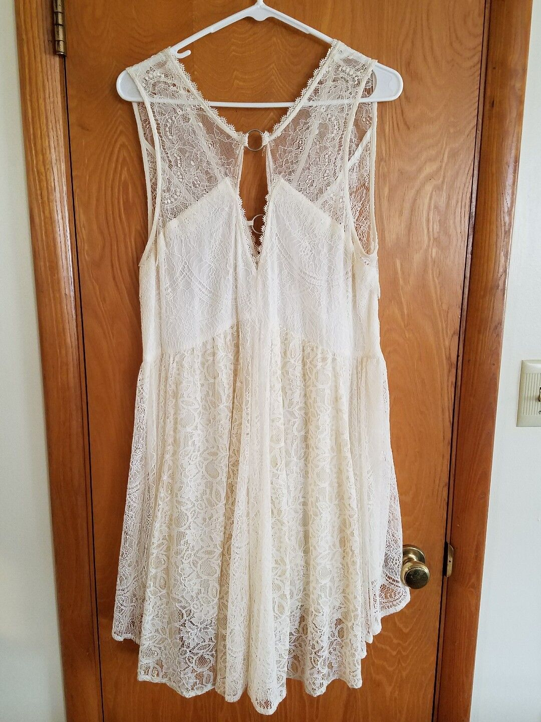 NEW Free People Cream Gold Lace Mini Dress  Large L NWT Neutral Co
