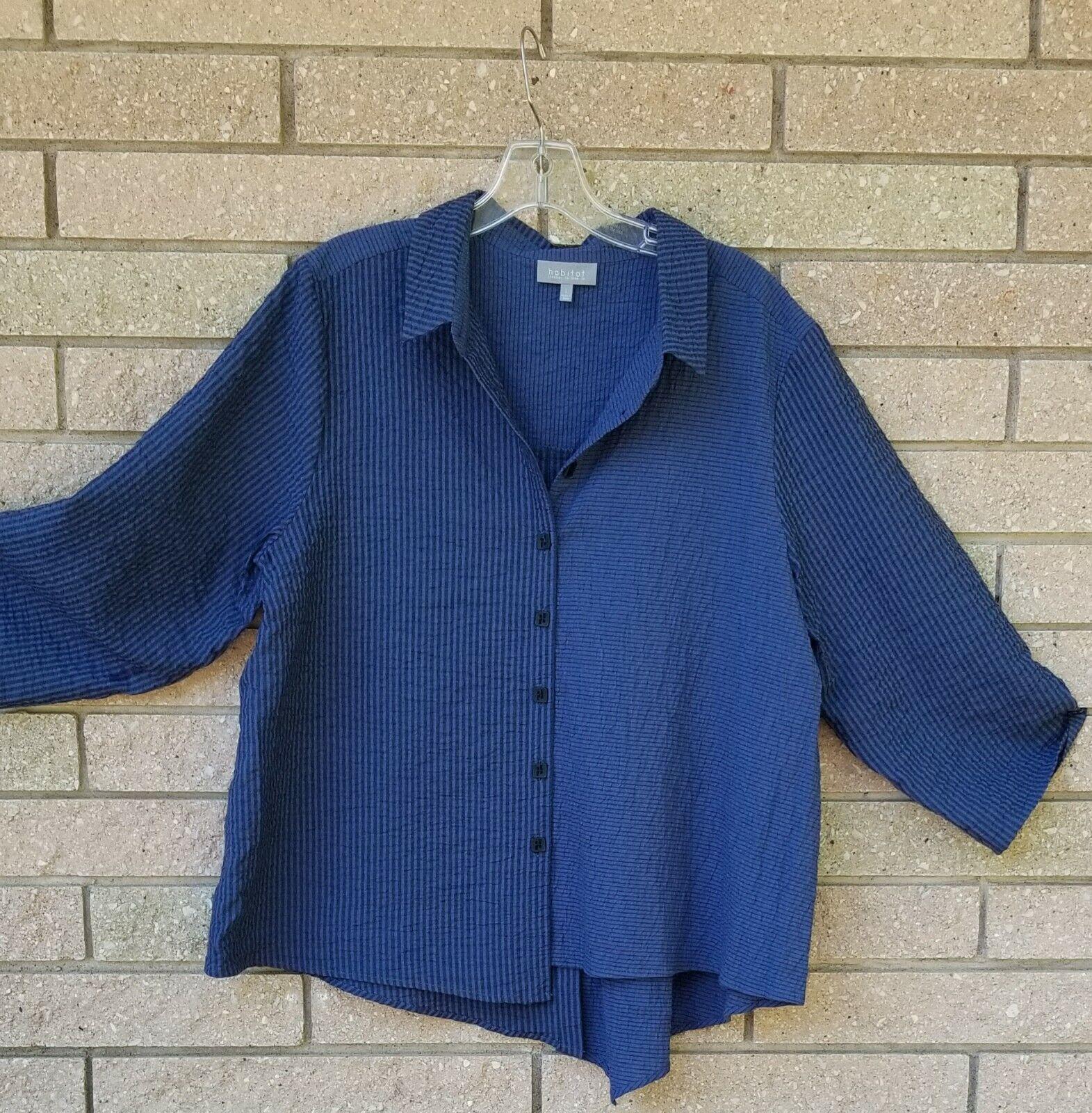 New HABITAT XL 2X Taste down Cotton blouse Blau denim striped
