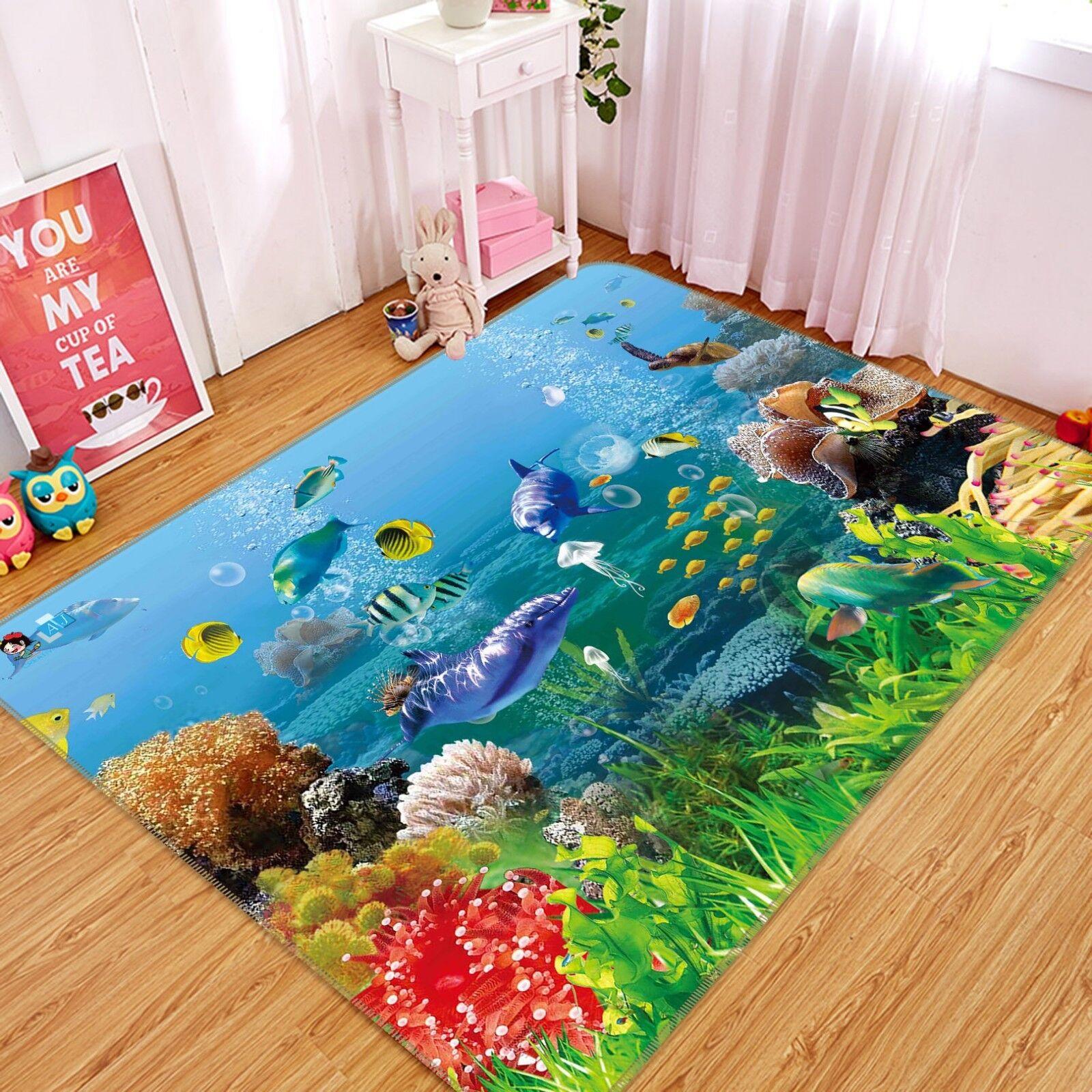 3D Dolphin Sea 101 Non Slip Rug Mat Quality Elegant Photo Carpet US Carly
