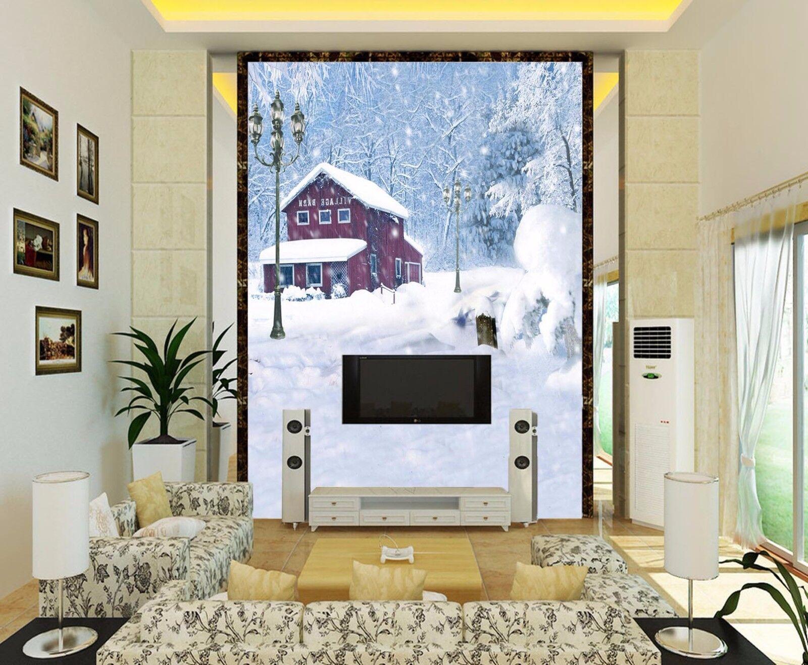 3D Weihnachten Schnee Haus 74 Tapete Wandgemälde Tapete Tapeten Bild Familie DE