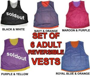 de0347843ce Image is loading 6-REVERSIBLE-ADULT-SOCCER-MICRO-MESH-SCRIMMAGE-VESTS-