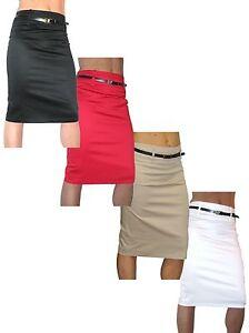 ICE-Womens-Pencil-Skirt-Stretch-Sateen-FREE-Belt-Knee-Length-Size-10-18