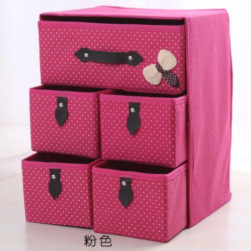 3 Layer 5 Drawer Style Clothing Storage Box Folding Container Case Bin Organizer