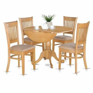 5 Pc Small Kitchen Table Set Drop Leaf Table And 4 Dinette Chairs 840017308115 Ebay