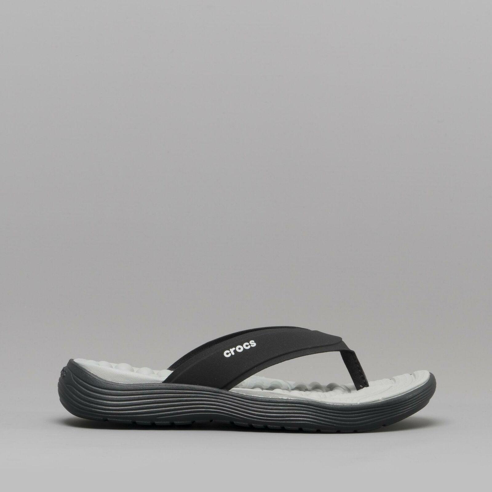 Crocs 205473 REVIVA FLIP Ladies Toe Post Slip On Comfort Pool Flip Flops Black