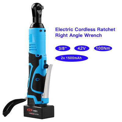 42V 3//8/'/' 100Nm Electric Rechargeable Cordless LED Ratchet Angle Wrench Tool