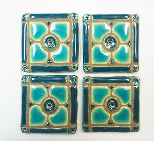 DOGWOOD MOSAIC TILES Handmade Ceramic Grouted Craft Tiles Aqua / Teal,  Set of 4