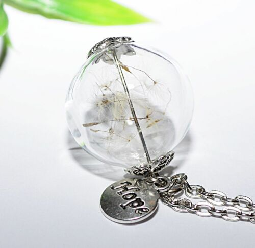 AUSWAHL Anhänger Halskette Pusteblume Kette Glas 25mm PUSTEBLUMEN Glaskugel