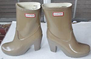 Rare-Hunter-Arnie-Cafe-4-034-Heel-Rubber-Rain-Boots-US10-EU42-UK8-EUC-Gummistiefel