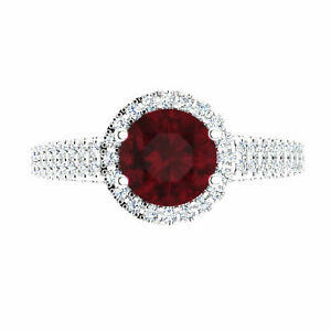 1.57 Ct Round Cut Natural Diamond Real Ruby Rings Solid 14K White Gold Size M N