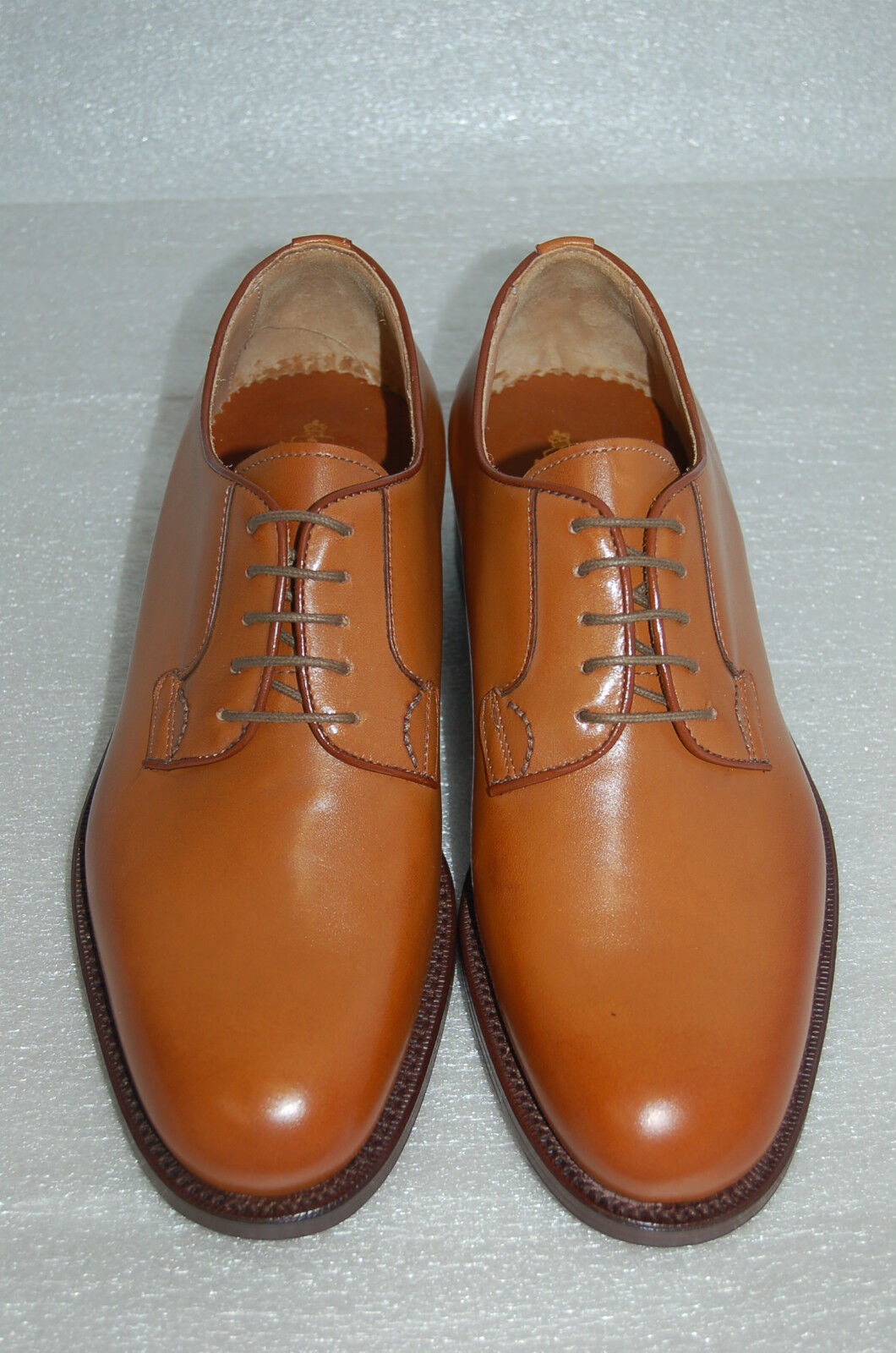 MAN - 39 - 5eu - DERBY - TAN CALF -VITELLO COL.BOMBAY- LEATHER SOLE-FONDO CUOIO