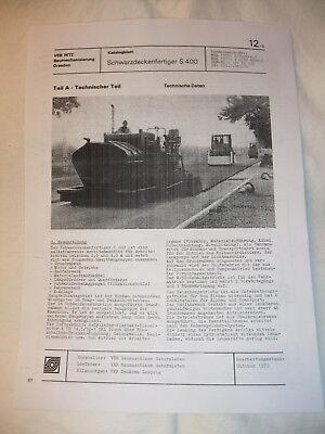 Treu Ddr Werbung Reklame Datenblatt Schwarzdeckenfertiger S 400 Veb Gatersleben 1979 NüTzlich FüR äTherisches Medulla Ddr & Ostalgie