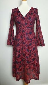 ABERCOMBIE-amp-FITCH-Red-Lace-Layered-Long-Sleeve-Midi-Skater-Dress-UK-Size-12