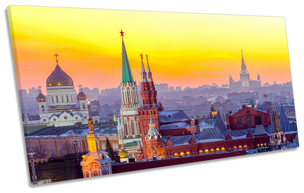 Moscow Skyline City Picture PANORAMIC CANVAS WALL ART Print