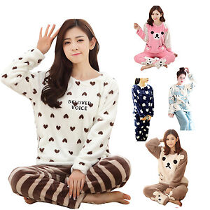 Women Ladies Winter Warm Coral Fleece Pajama Sets Animal Long Sleeve ... 183bba5b2