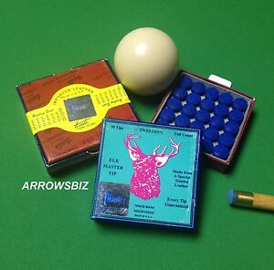 Original-Elkmaster-Snooker-Pool-Billiard-Cue-Tips-9-10-11-12-13-14mm-UK-Seller