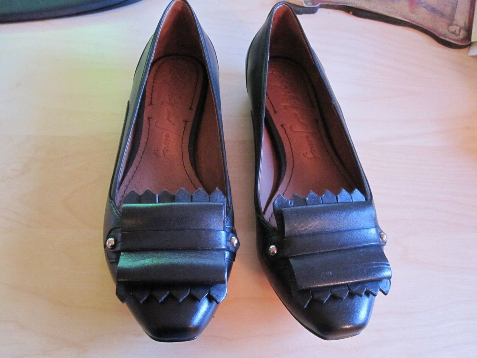 NEW NEW NEW Elizabeth and James Gavin black leather flats loafers 6.5 women's f723a5
